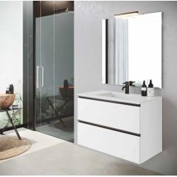 Meuble salle de bain suspendu et vasque 80cm blanc