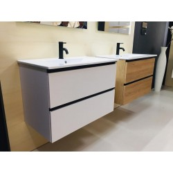Meuble salle de bain suspendu et vasque 80cm  couleur blanc et cannelle
