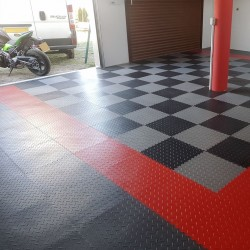 Dalle PVC Garage Diamond Rouge, noir  et gris Light- Fortelock